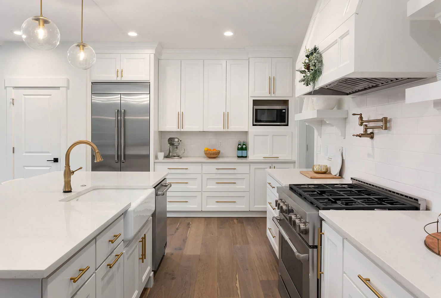 White Kitchen with Gold Fixtures